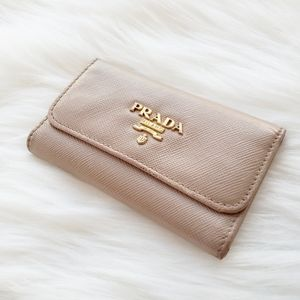 Prada Saffiano Cream Beige 6 Key Holder Case